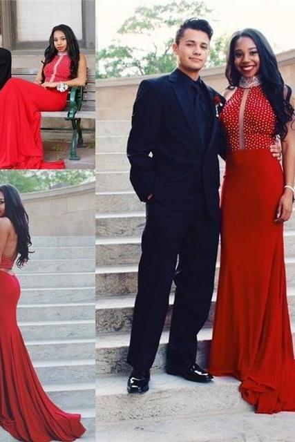 2017 Custom Made Charming Red Prom Dress, Sexy Halter Evening Dress,Beading Prom Dresses,high neck Prom Dress,backless Formal Gowns Plus Size, Cocktail Dresses, formal dresses,Wedding guests dresses