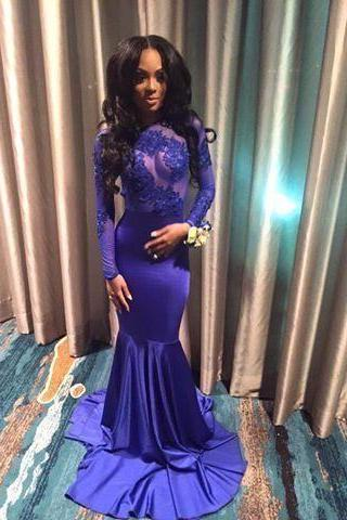 2017 Custom Made Charming Royal Blue Prom Dress, Long Sleeves Evening Dress,Sexy See Through Prom Dress,Mermaid Party Dress, Formal Gowns, Prom Dress,Formal Gowns Plus Size, Cocktail Dresses, formal dresses,Wedding guests dresses
