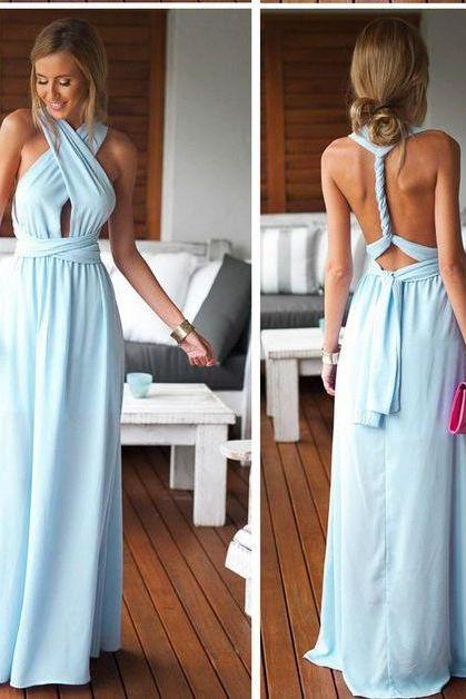 2017 Custom Made Popular Light Blue Prom Dresses,Chiffon Evening Dresses,Backless Prom Dresses,Floor Length Evening Dresses,Formal Gowns Plus Size, Cocktail Dresses, formal dresses,Wedding guests dresses