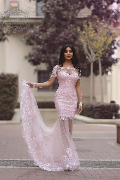 2017 Custom Made Charming Light Pink Wedding Dresses,Short Sleeves Bridal Dress,See Through lace Wedding Dresses,Formal Gowns Plus Size, Cocktail Dresses, formal dresses,Wedding guests dresses