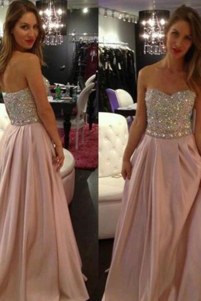 2017 Custom Made Charming Beading Prom Dresses,Sequined Prom Dress,a-Line Prom Dress,Strapless Prom Dress,Chiffon Prom Dress,Formal Gowns Plus Size, Cocktail Dresses, formal dresses,Wedding guests dresses