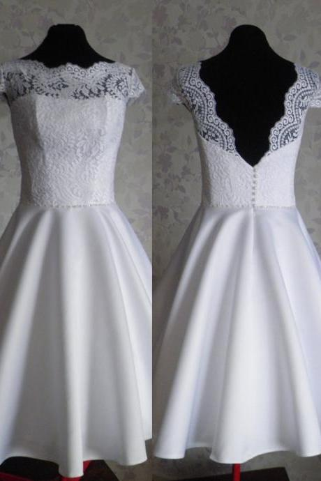 2017 Custom Made Charming White Wedding Dresses,Short Sleeves Lace Bridal Dress,Sexy A-LINE Backless Wedding Dresses,Formal Gowns Plus Size, Cocktail Dresses, formal dresses,Wedding guests dresses