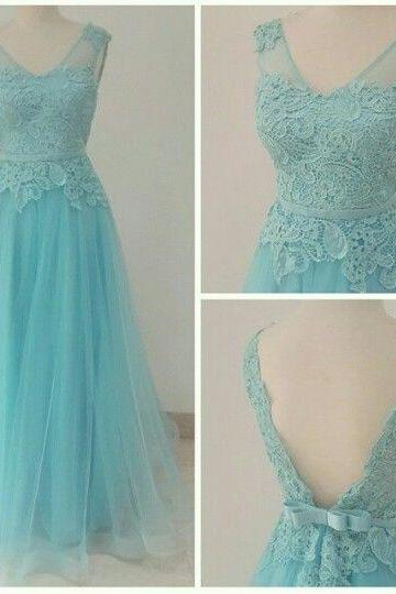 2017 Custom Made Charming Prom Dresses,V-Neck Prom Dress,Noble Prom Dress,Tulle Prom Dress,A-Line Evening Dress,Long lace Prom Dresses, Cocktail Dresses, formal dresses,Wedding guests dresses