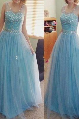 2017 Custom Elegant Baby Blue Prom Dress,Beading Prom Dress,O-Neck Prom Dress,Tulle Sexy See Through Evening Dress, Sexy Backless Evening Prom Dress,evening dresses,Prom Dresses, Cocktail Dresses, formal dresses,Wedding guests dresses
