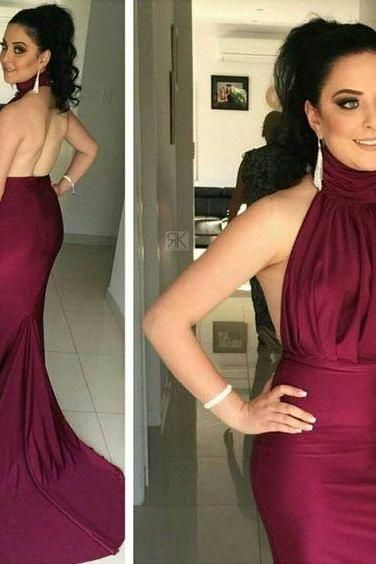 2017 Custom Sexy Burgundy Prom Dress,Mermaid Prom Dress,Halter Prom Dress,Sexy Backless Evening Dress,Chiffon evening Prom Dress,evening dresses,Prom Dresses, Cocktail Dresses, formal dresses,Wedding guests dresses