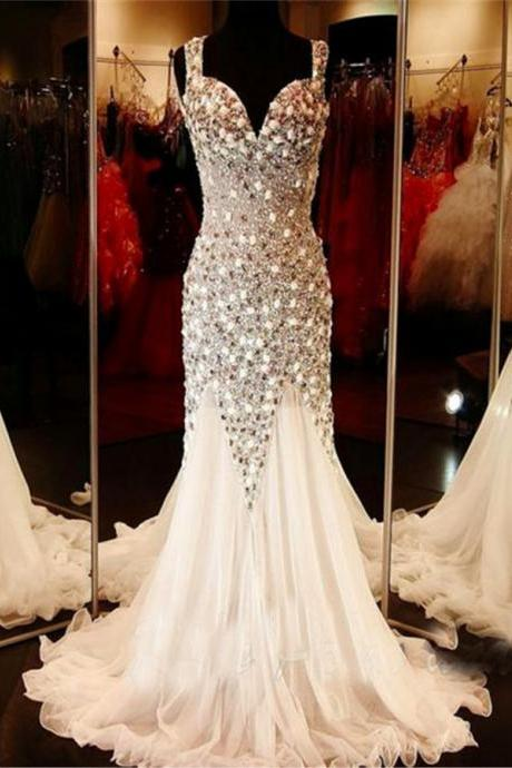 2017 Custom Gorgeous Mermaid Beaded Long Prom Dresses ,Backless Evening Dress, Sexy Backless Evening Prom Dress,evening dresses,Prom Dresses, Cocktail Dresses, formal dresses,Wedding guests dresses