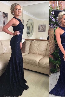 2017 Custom Charming Sexy Royal Blue Prom Dress,Sexy Halter Evening Dress,Beading Prom Dress with Train, Sexy Backless Evening Prom Dress,evening dresses,Prom Dresses, Cocktail Dresses, formal dresses,Wedding guests dresses