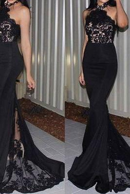 2017 Custom Sexy Black Lace Prom Dress,Halter Prom Dress,Mermaid Prom Dress, See Through Evening Dress,Prom Dresses, Cocktail Dresses, formal dresses,Wedding guests dresses