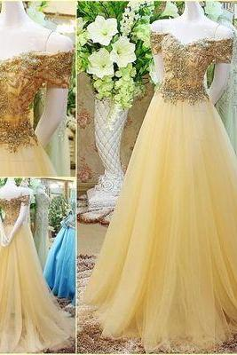Sexy Off the shoulder Gold Long Prom Dress,Colorized Evening Dress ,Ball Gown Prom Dresses,cheap Sexy Backless Prom Dresses,Beading Evening Dress, Prom Dress, formal dresses,Wedding guests dresses