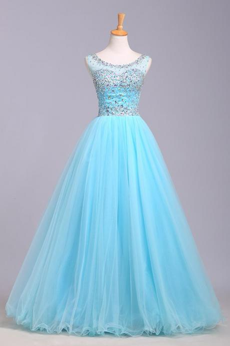 Light Blue Prom Dress,Tulle Prom Dress,Modest Prom Gown,Silver Beaded Prom Gown,Princess Evening Dress,Ball Gown Evening Gowns,Beaded Party Gowns,2016 Evening Gown,cheap Sexy Backless Prom Dresses,Beading Evening Dress, Prom Dress, formal dresses,Wedding guests dresses