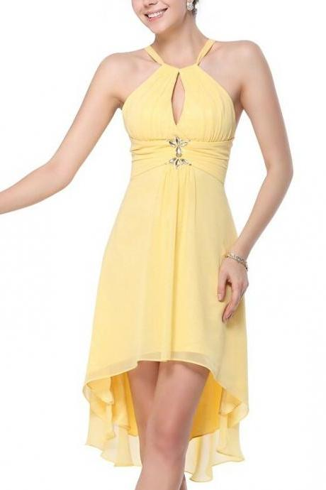 Charming party Dress,Yellow Prom Dress,Chiffon Short party Dresses,Sexy Prom Dress,Evening Gowns,Evening Gown,Sexy chiffon Backless Prom Dresses, Formal Gowns, Prom Dress,Formal Gowns Plus Size, Cocktail Dresses, formal dresses,Wedding guests dresses