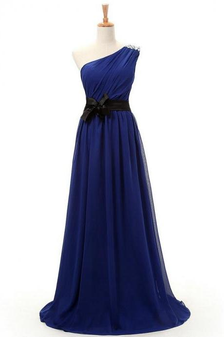 One Shoulder Prom Dress,Royal Blue Chiffon Prom Dress,Long Prom Dresses,Evening Gown, Sexy Backless Prom Dress , prom Gowns Plus Size, Cocktail Dresses, formal dresses,Wedding guests dresses