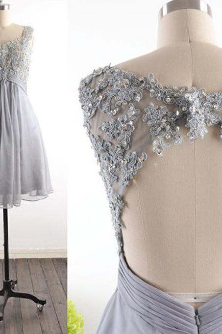Sexy Grey Chiffon Homecoming Dress,Lace Beading Homecoming Dresses,Sexy Backless Evening Dress, Sexy Backless Prom Dress , prom Gowns Plus Size, Cocktail Dresses, formal dresses,Wedding guests dresses