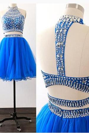 New Luxury beads Charming formal Dress,Blue Two Piece Homecoming Dress,Tulle party Dress, Luxury beads formal dresses,Sexy Backless Prom Dress , prom Gowns Plus Size, Cocktail Dresses, formal dresses,Wedding guests dresses