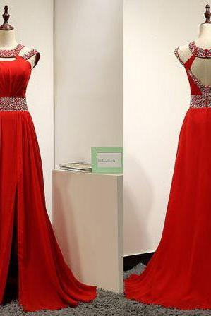 New Charming Red Mermaid Prom Dress,Chiffon Long formal Dress,Beading Evening Formal Gown, Sexy formal Dresses , prom Gowns Plus Size, Cocktail Dresses, formal dresses,Wedding guests dresses