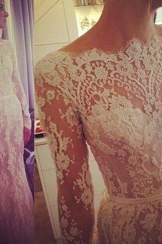 Wedding Dress,Marvelous Wedding Dresses,Tulle Wedding Dress,Jewel Neckline Wedding Dress, Mermaid Wedding Dress,Lace bridal dresses, Wedding Dress, Appliques Wedding Dress,2015 Wedding Dress,Handmade Wedding Dress,Custom Made Wedding Dress