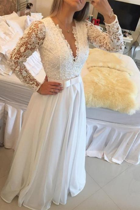 wedding Dress,Elegant V-Neck Beadings Long A-Line Tulle Long sleeve wedding Dresses ,Sexy V Neck bridal dresses,Elegant Party Prom Gown,girls party dress, sexy prom Dresses,homecoming dress , 2016 cheap short sexy prom dress .
