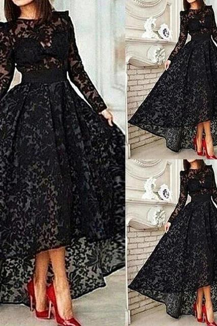 Black prom Dresses,Hot sale Lace Evening Dresses,Long sleeve Prom Dresses,lace Formal Dress High -low Prom Gown,girls party dress, sexy A-LINE prom Dresses,homecoming dress , 2016 cheap short sexy prom dress .