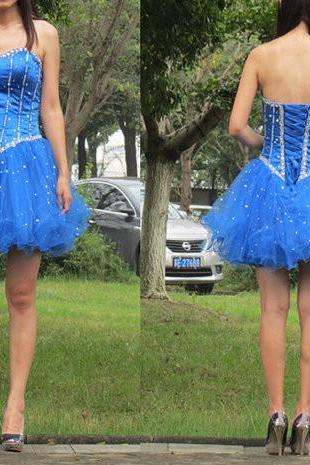 Homecoming dress,Sexy Blue Homecoming Dress Short Prom Party Dresses Corset Back,cheap short sexy Prom dresses .