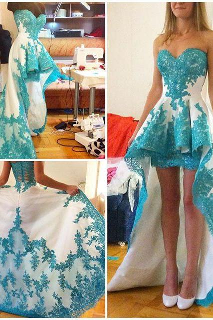 party dress,High Low Prom Party Dress Evening Gown,lace party dresses