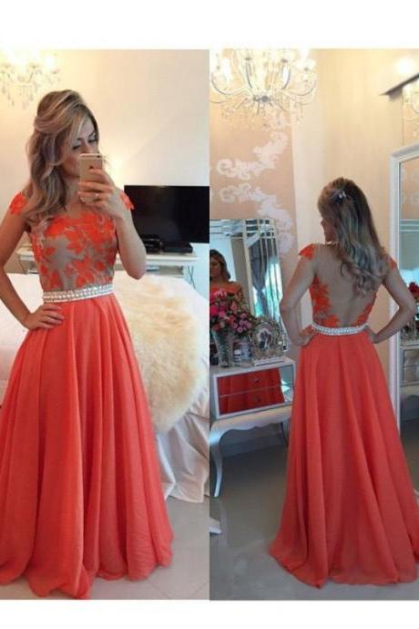 prom dress, Long Prom Dress with Illusion Back,lace prom dresses