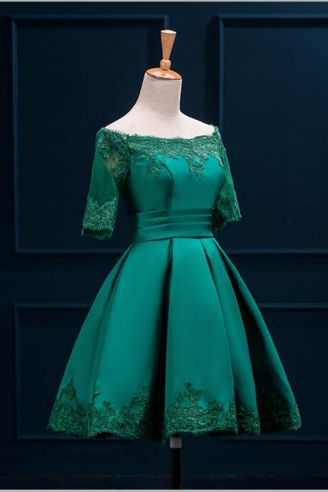 party dress,Green Satin Applique A-Line Vintage Prom Party dresses, Bridesmaid Formal dress