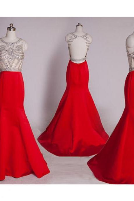 Prom Dress,Mermaid Prom Dress, Red Evening Dress, Beaded Evening Dress, Long Prom Dresses, Sexy Evening Dress, Backless Evening Dress, Formal Dresses 2016, Cheap Formal Dress, Satin Formal Dress