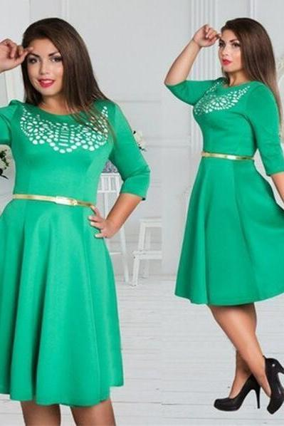 Green fashion Prom dress, party Dresses,3/4 sleeve fashion dress ,sexy a-line dress,Elegant short Prom Dresses,Party dresses,formal dress,prom dresses