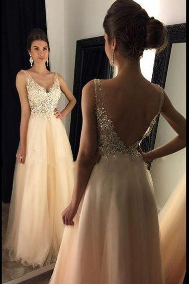 Prom Dress,Custom Made Chiffon Prom Dresses,Sexy Deep V-Neck Evening Dress,Beading Party Gown, Floor Length Backless Pageant Dress,High Quality,Graduation Dress,Wedding Guest Dress
