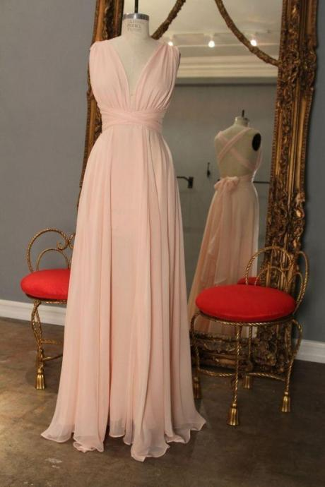 Bridesmaid Dress,Custom Made Pink Chiffon Prom Dress,Halter Evening Dress,Floor Length Party Dress,Deep V-Neck Bridesmaid Dresses, Graduation Dress,Wedding Guest Dress