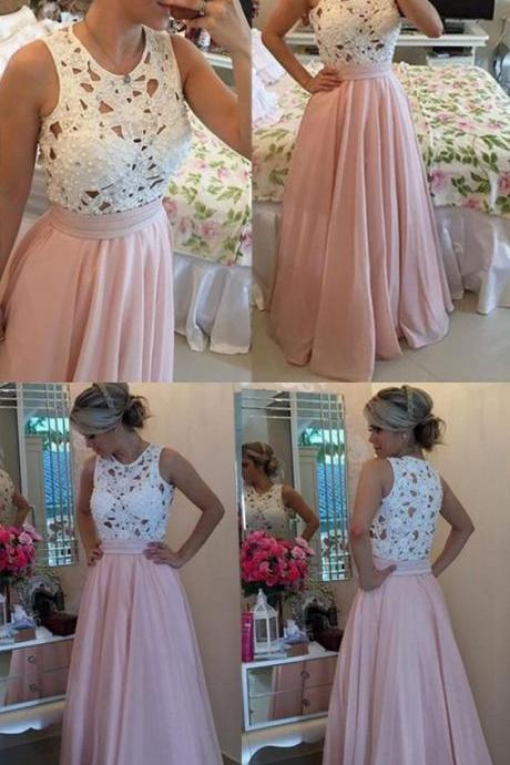 Prom Dress,Custom Made Charming White Lace Pink Prom Dresses, Sleeveless Crochet Hollow Party Dress, Beading Evening Dress,Floor Length Party Dress,High Quality Graduation Dress,Wedding Guest Dress