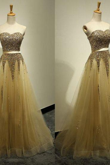 Prom Dress,Custom Made Yellow Prom Dress,Sexy Sweetheart Evening Dress,Beading Party Gown,Floor Length Pegeant Dress, High Quality Prom Dresses,High Quality Graduation Dress,Wedding Guest Dress