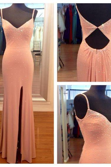 Prom Dress,Custom Made Hot Pink Prom Dress,Spaghetti Straps Evening Dress,Beading Party Gown,Side Slit Pegeant Dress, High Quality Prom Dresses,High Quality Graduation Dress,Wedding Guest Dress