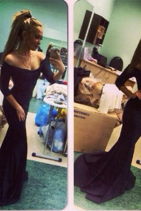 Prom Dress,Custom Made Black Prom Dress,Off The Shoulder Evening Dress,Long Sleeves Party Gown,Mermaid Pegeant Dress, High Quality Prom Dresses,High Quality Graduation Dress,Wedding Guest Dress