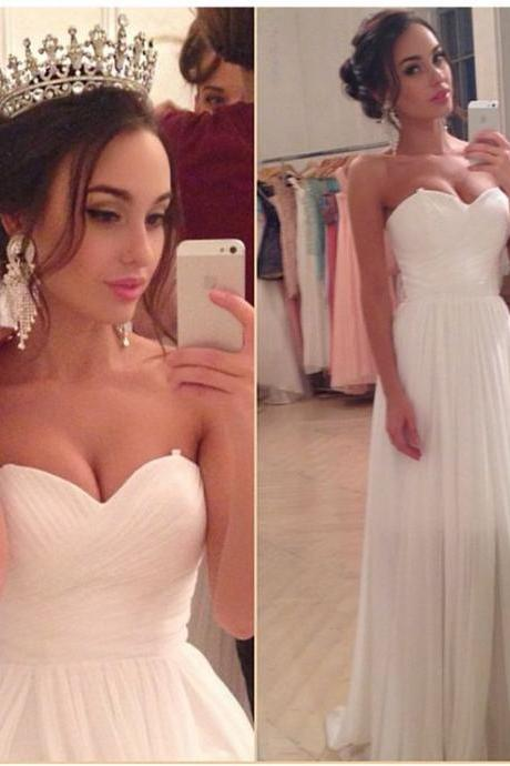 Wedding Dress,Charming White Simple Chiffon Wedding Dress, Sexy Sweetheart Bridal Dress,Sexy Open Back Strapless Wedding Dresses, High Quality Formal Dresses, High Quality Wedding Dresses, Graduation Dress,Wedding Guest Dress