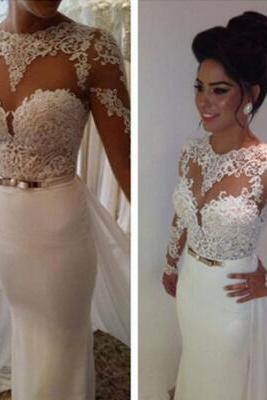 Wedding Dress,Customized White Lace Wedding Dress,Sexy See Through Long Sleeves Evening bridal Dress,Deep V-Neck Wedding Gowns, Formal Dresses,Prom Dresses,High Quality Graduation Dress,Wedding Guest Dress