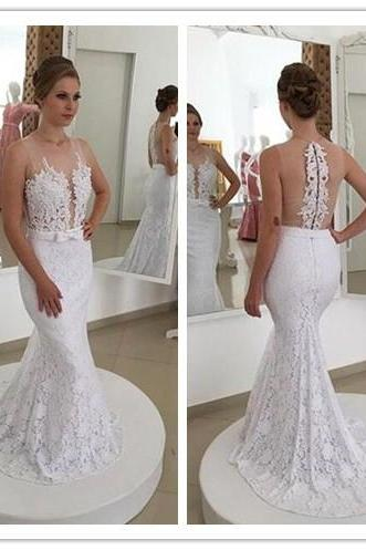 Wedding Dress, Princess Mermaid V Neck Empire Waist White Lace backless Wedding Dresses,Custom Made Wedding bridal Dress, Formal Dresses, High Quality Wedding Dresses,High Quality Graduation Dress,Wedding Guest Dress