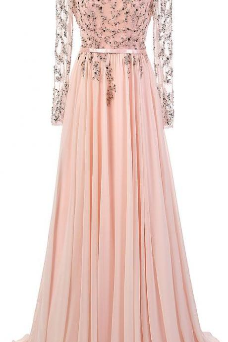 Prom Dress, Sexy Charming Prom Dress,Chiffon Prom Dress,Backless Prom Dress,Appliques Prom Dress,A-Line Prom Dress,Long Sleeve Prom Dress, Formal Dresses, High Quality Prom Dresses,High Quality Graduation Dress,Wedding Guest Dress