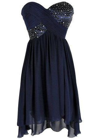 Homecoming Dress, New Style Blue Prom Dresses, silver Beaded Evening Dress Backless Homecoming Gowns For Teens, Formal Dresses, High Quality Party Dresses,High Quality Graduation Dress,Wedding Guest Dress