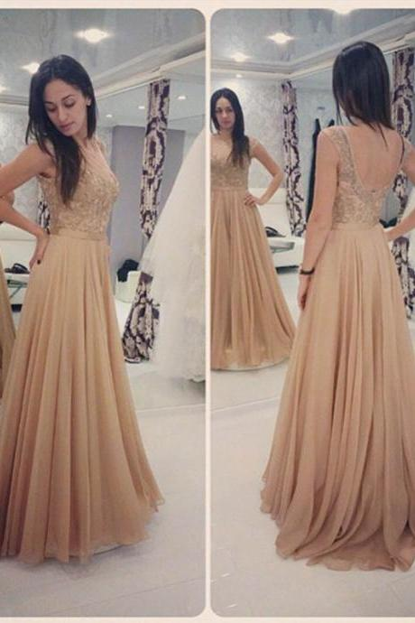 Glamorous Long Champagne Lace Prom Dresses Party Evening Gown Beaded Chiffon Appliques Open Back Prom Dress, Formal Dresses, High Quality Party Dresses,High Quality Graduation Dress,Wedding Guest Dress