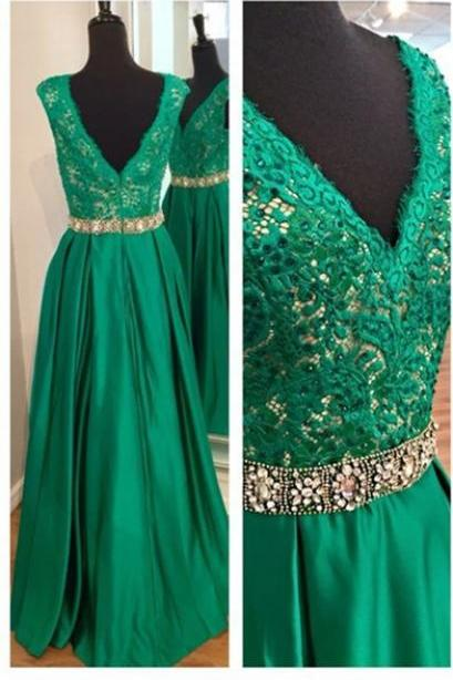 Sexy V Neckline Hunter Green Prom Dresses, Lace and Satin Prom Dress, A-line Prom Dress, Charming Prom Dresses, Long Woman Formal Gowns, Green Evening Dresses, Formal Dresses, High Quality Party Dresses,High Quality Graduation Dress,Wedding Guest Dress