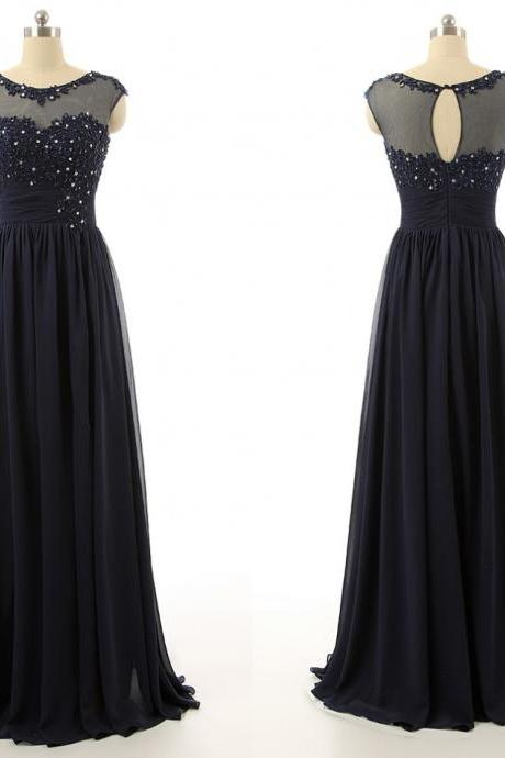Simple Pretty Handmade Navy Blue Applique Chiffon Prom Dress with Beadings,Long Prom Dresses,Prom Dresses, Evening Dresses s, Formal Dresses, High Quality Party Dresses,High Quality Graduation Dress,Wedding Guest Dress