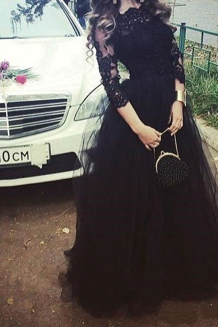 Simple Charming Black Evening Dresses, Black Prom Dresses, Lace Formal Dress,Long Prom Gown,Prom Dresses With Sleeve,Tulle Prom Dresses,Prom Dresses With Applique, Formal Dresses, High Quality Party Dresses,High Quality Graduation Dress,Wedding Guest Dress
