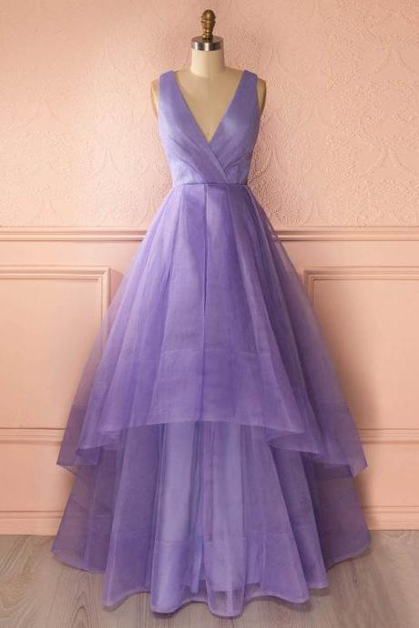 Unique Deep V Neck Floor Length Prom Dress, Lavender Organza Princess Long Prom Dress, Asymmetric Tiered Pleats Prom Dress, Formal Dresses, High Quality Party Dresses,High Quality Graduation Dress,Wedding Guest Dress