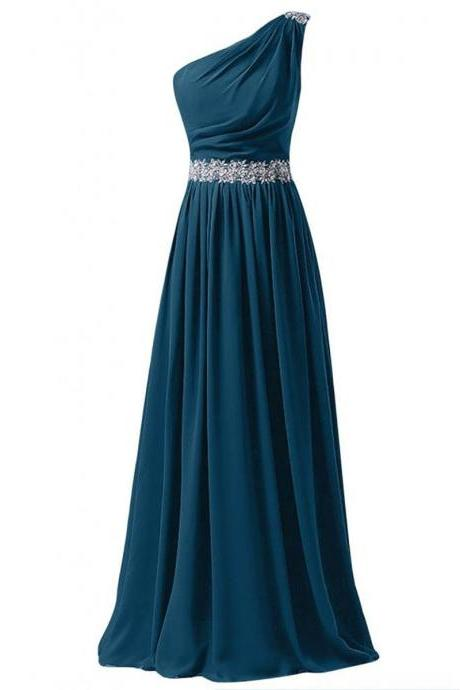 One Shoulder Long A-Line Chiffon Prom Gown Featuring One Shoulder Neckline, Sequin Embellishment and Lace-Up Back
