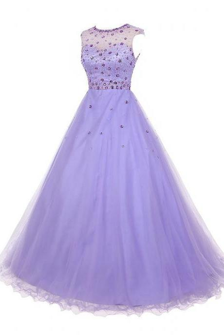 Charming Crystal Jewel Neck Illusion Cap Sleeves Prom Dress, Beaded A-line Long Prom Dress, Lilac Key Hole Back Tulle Prom Dress, Formal Dresses, High Quality Party Dresses,High Quality Graduation Dress,Wedding Guest Dress