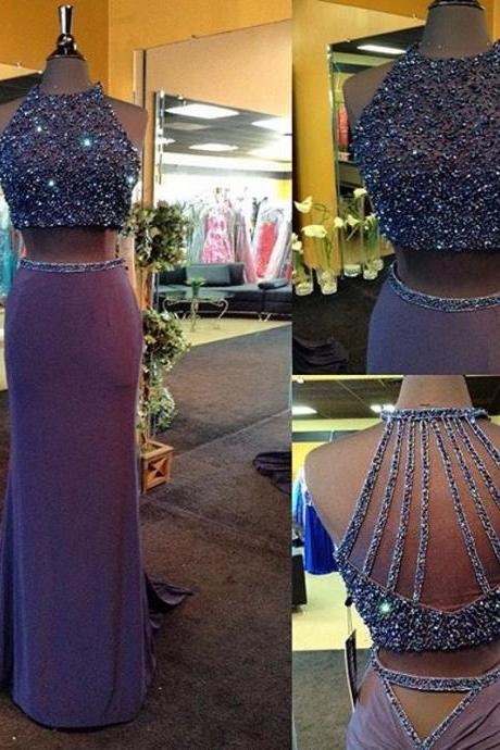 Prom Dress,Real Iamge Two Pieces Prom Dresses New Sexy Cheap Mermaid Lavendar Beads Crystals Bling Sparkle Luxury Rhinestones Backless Long Formal Party Gowns,Custom prom dresses, Formal Dresses, High Quality Party Dresses,High Quality Graduation Dress,Wedding Guest Dress