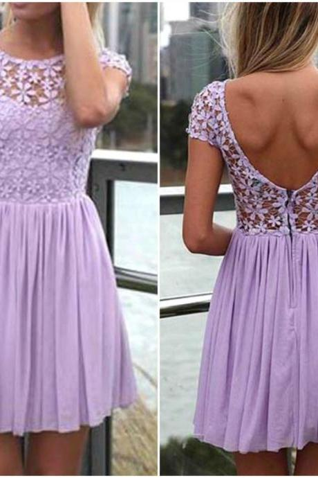 Cute Purple Lace and Floral Design Chiffon Dress,lace Dress
