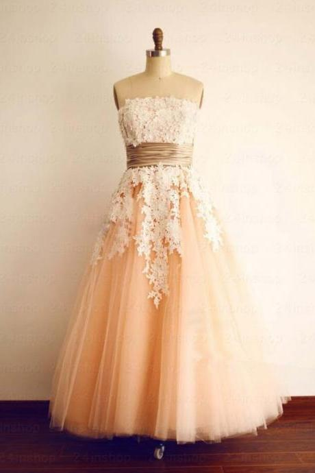 Formal Dress,Sexy Custom Peach lace Homecoming Dress, A-line Prom Dress, Strapless Evening Dress,Long prom Dress,Custom prom dresses, Formal Dresses, High Quality Party Dresses,High Quality Graduation Dress,Wedding Guest Dress