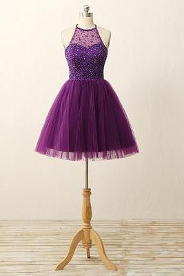 Graduation Dress,Sexy Custom Purple Homecoming dresses, Sexy Open Back Graduation Dresses, Beaded Homecoming Dresses, Tulle Party Dresses,Halter Cocktail Dresses,Custom prom dresses, Formal Dresses, High Quality Party Dresses,High Quality Graduation Dress,Wedding Guest Dress